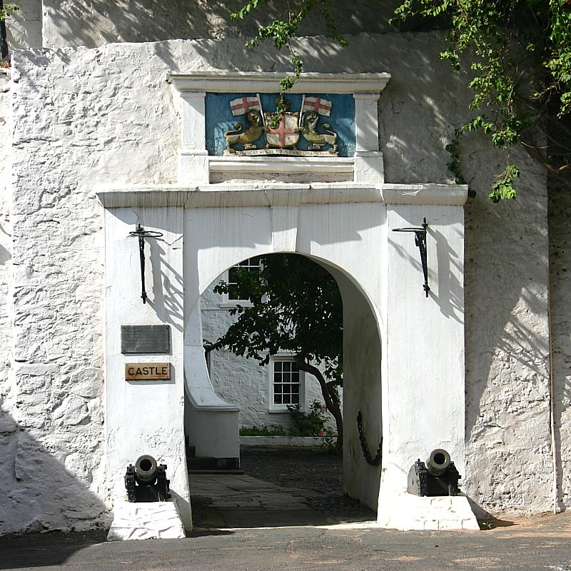 Entrance to The Castle, the seat of Government on St. Helena  (Click to see the full-sized image, opens in a new window or tab)