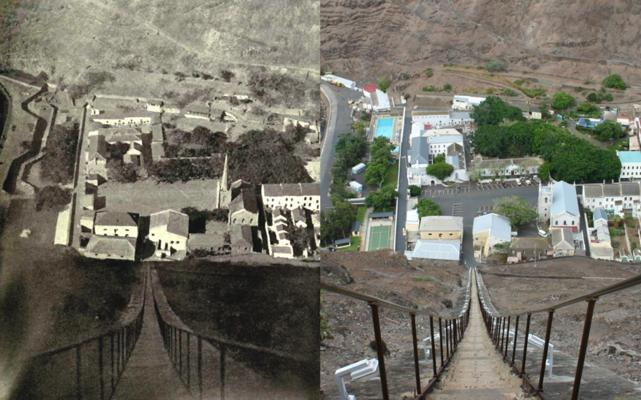 Lower Jamestown from the top of Jacob's Ladder, in 1900 and 2005  (Click to see the full-sized image, opens in a new window or tab)